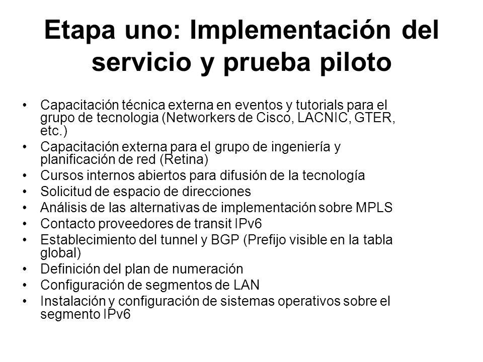 Etapa uno: Implementación del servicio y prueba piloto