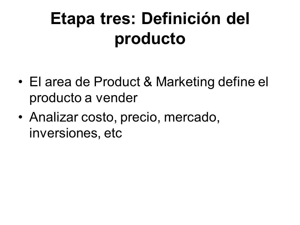 Etapa tres: Definición del producto