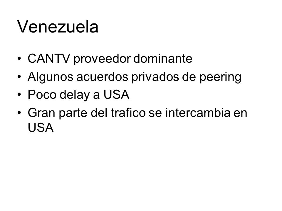 Venezuela CANTV proveedor dominante