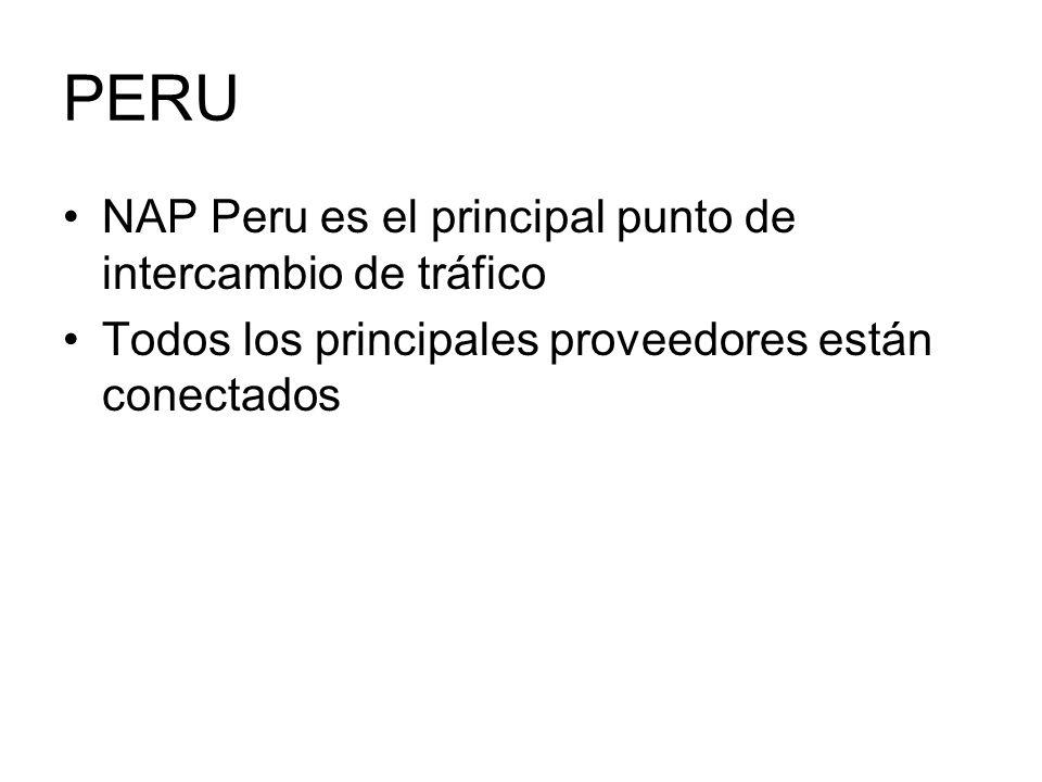 PERU NAP Peru es el principal punto de intercambio de tráfico