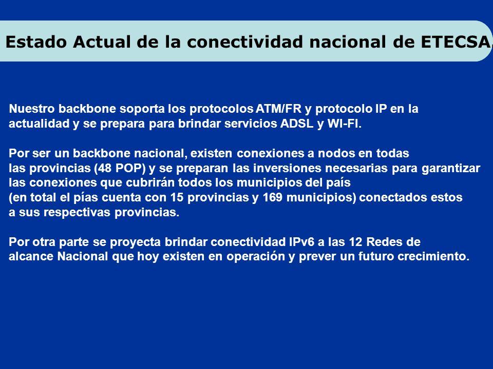 Estado Actual de la conectividad nacional de ETECSA.