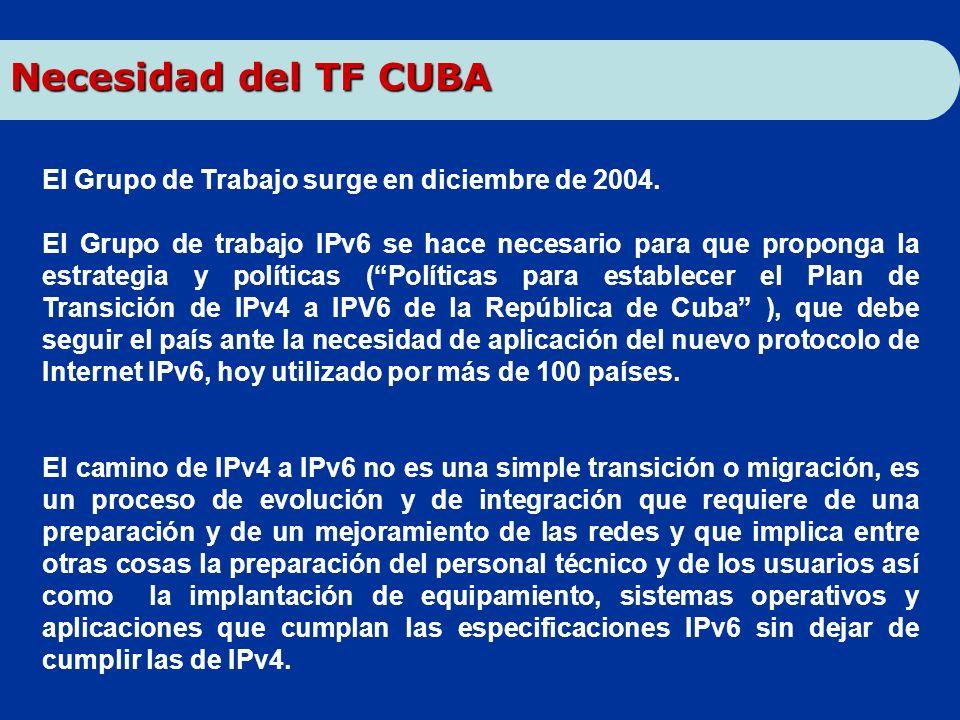 Necesidad del TF CUBA El Grupo de Trabajo surge en diciembre de 2004.