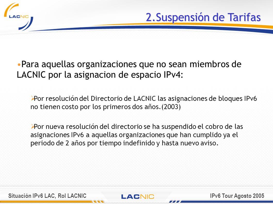 2.Suspensión de Tarifas Para aquellas organizaciones que no sean miembros de LACNIC por la asignacion de espacio IPv4: