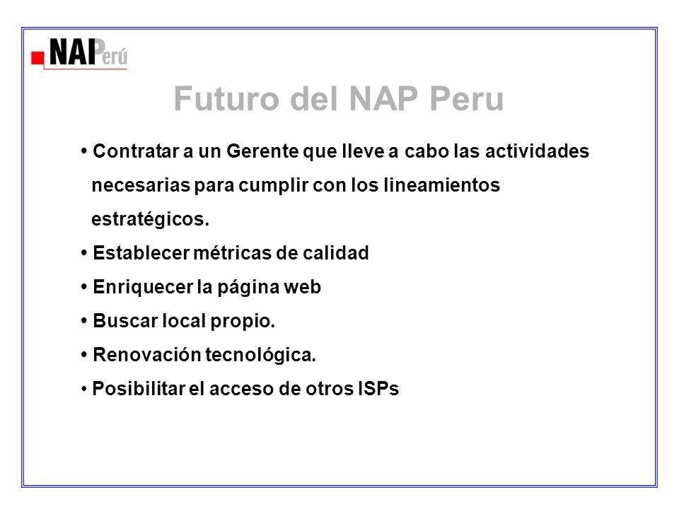 Futuro del NAP Peru • Contratar a un Gerente que lleve a cabo las actividades. necesarias para cumplir con los lineamientos.
