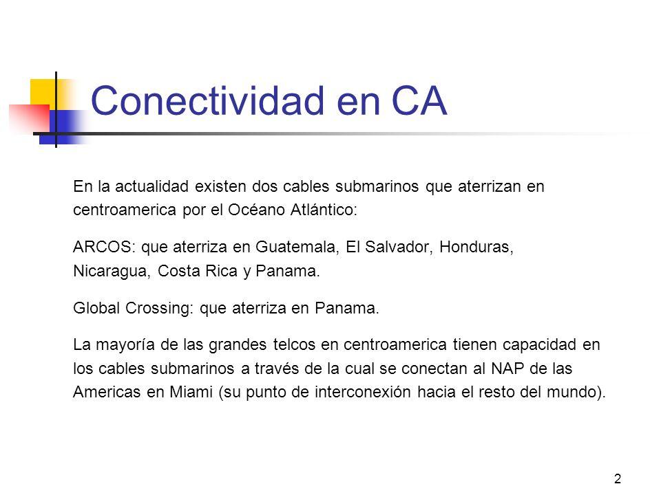 Conectividad en CA En la actualidad existen dos cables submarinos que aterrizan en. centroamerica por el Océano Atlántico: