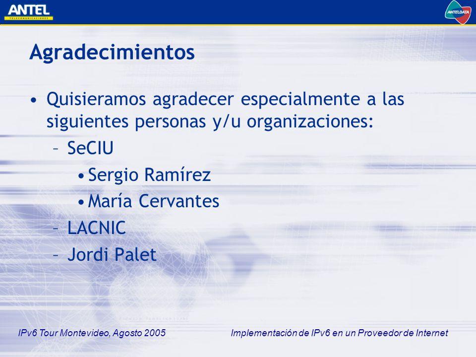 Agradecimientos Quisieramos agradecer especialmente a las siguientes personas y/u organizaciones: SeCIU.
