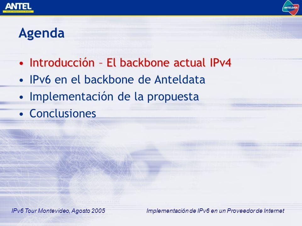 Agenda Introducción – El backbone actual IPv4