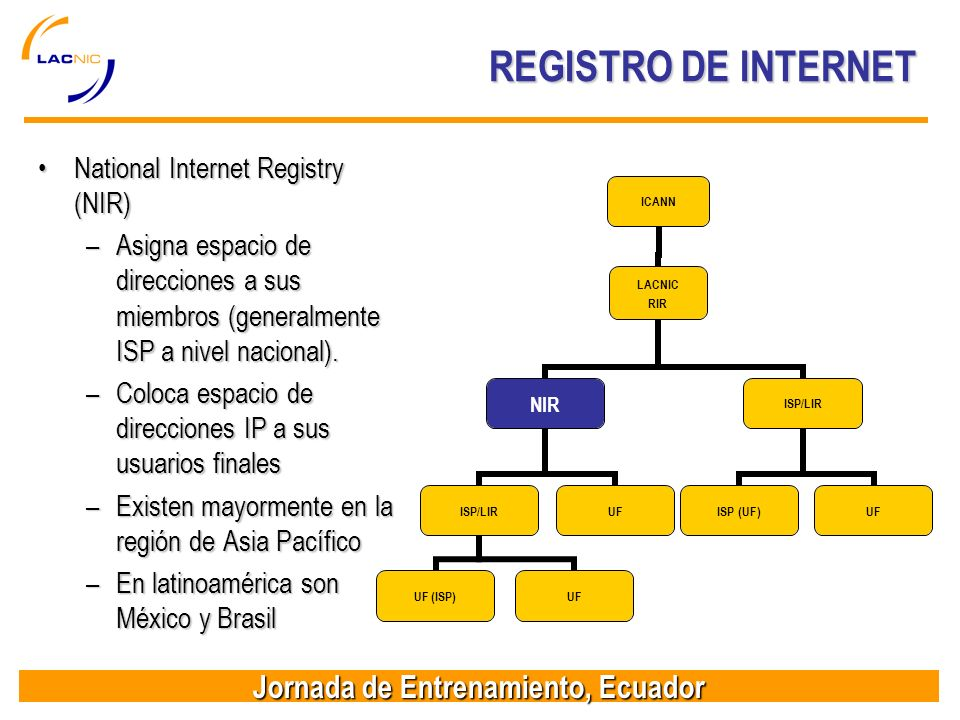 REGISTRO DE INTERNET National Internet Registry (NIR)