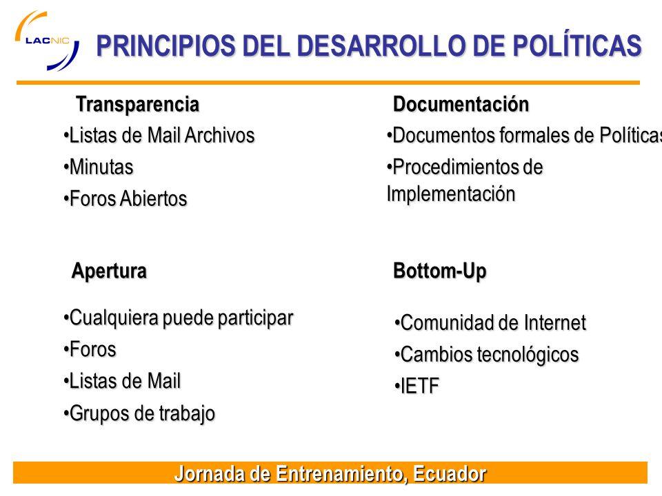 PRINCIPIOS DEL DESARROLLO DE POLÍTICAS
