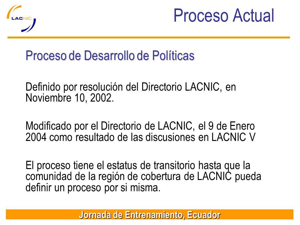 Proceso Actual Proceso de Desarrollo de Políticas
