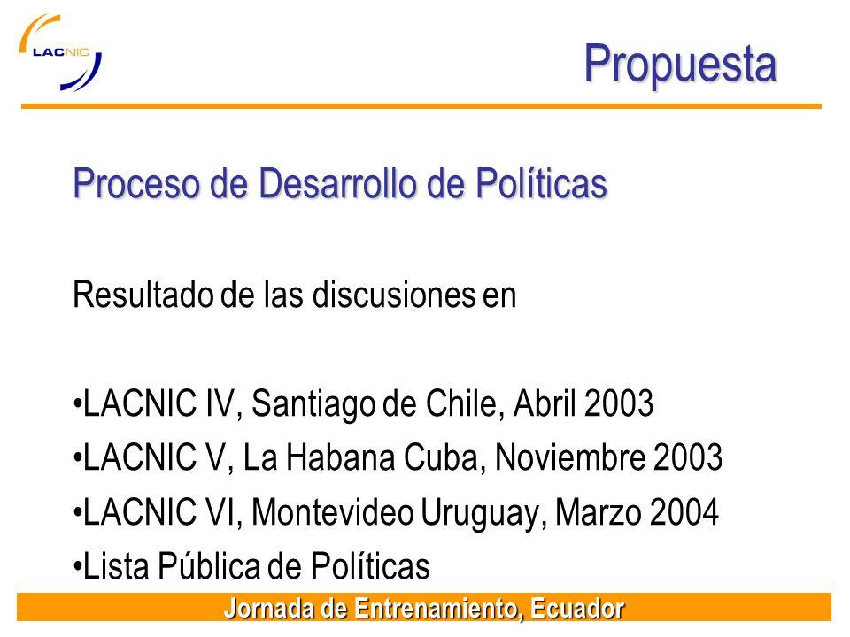 Propuesta Proceso de Desarrollo de Políticas