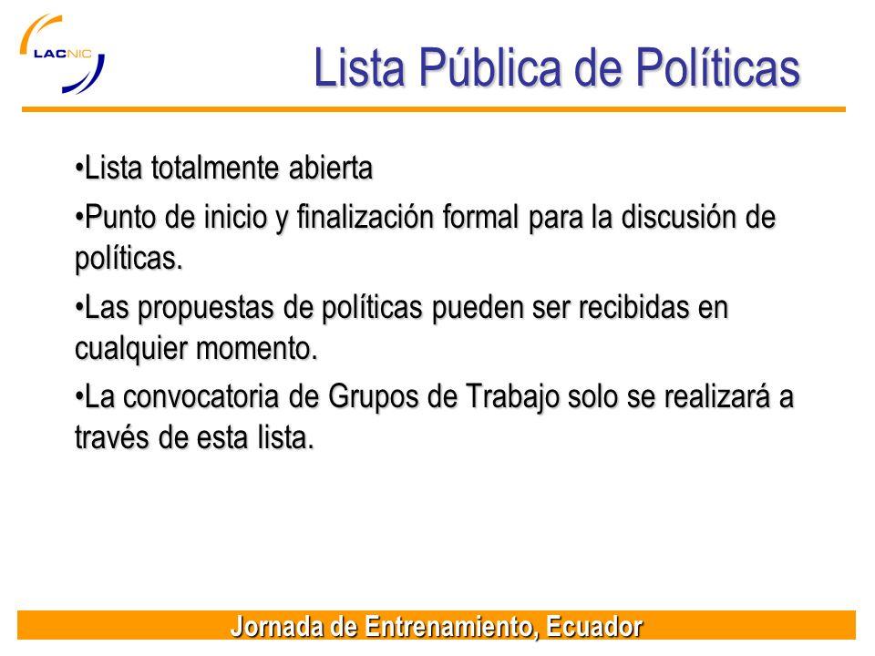 Lista Pública de Políticas