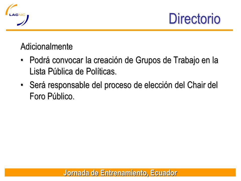 Directorio Adicionalmente