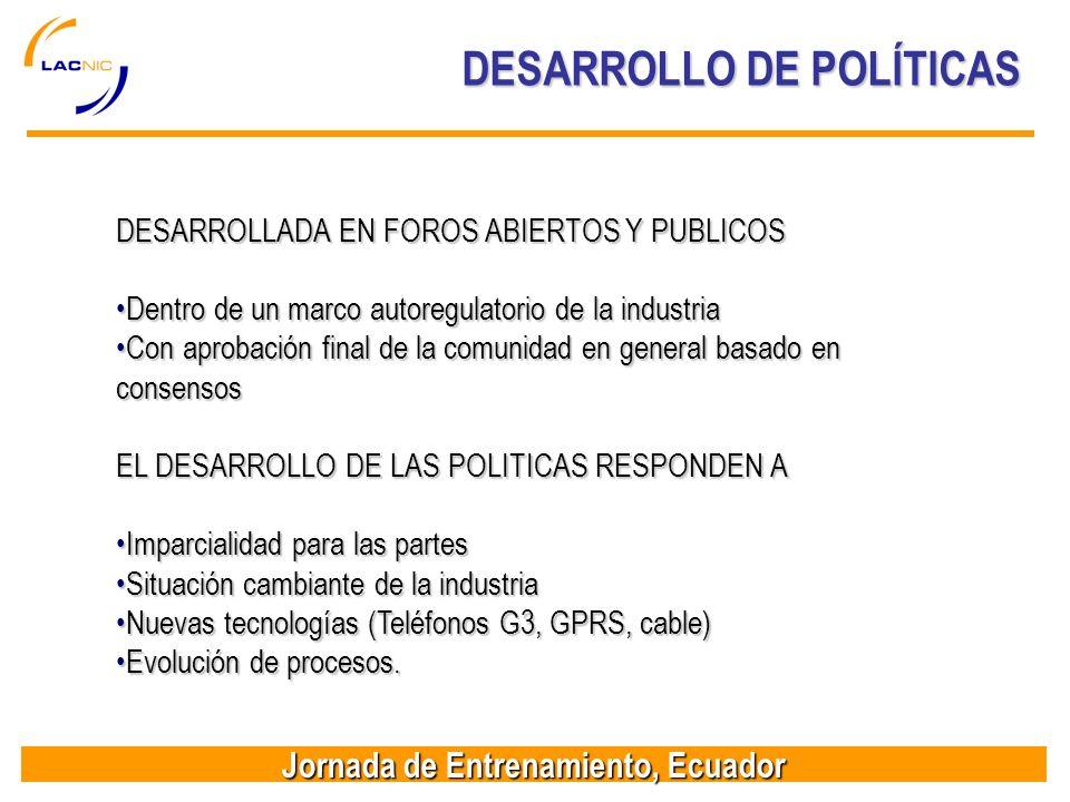 DESARROLLO DE POLÍTICAS