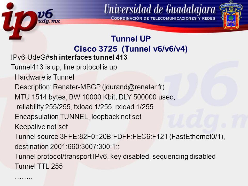 Tunnel UP Cisco 3725 (Tunnel v6/v6/v4)
