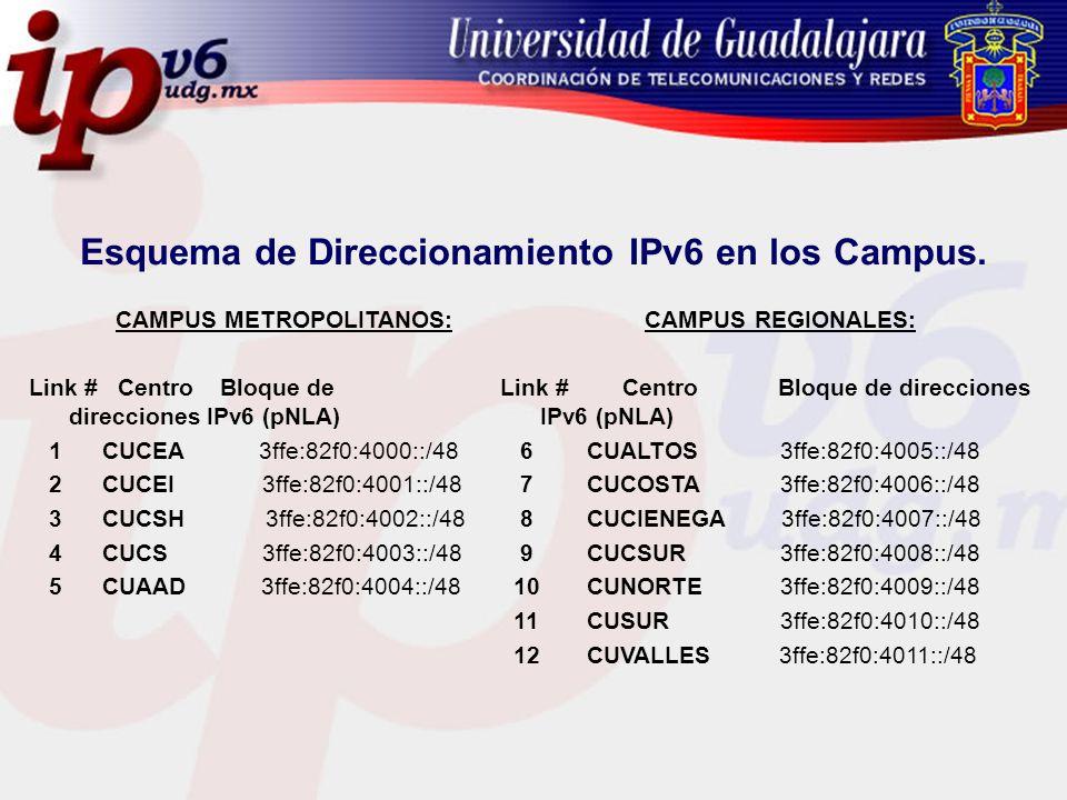 Esquema de Direccionamiento IPv6 en los Campus.