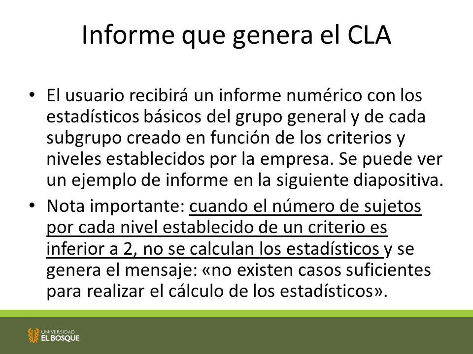 Informe que genera el CLA