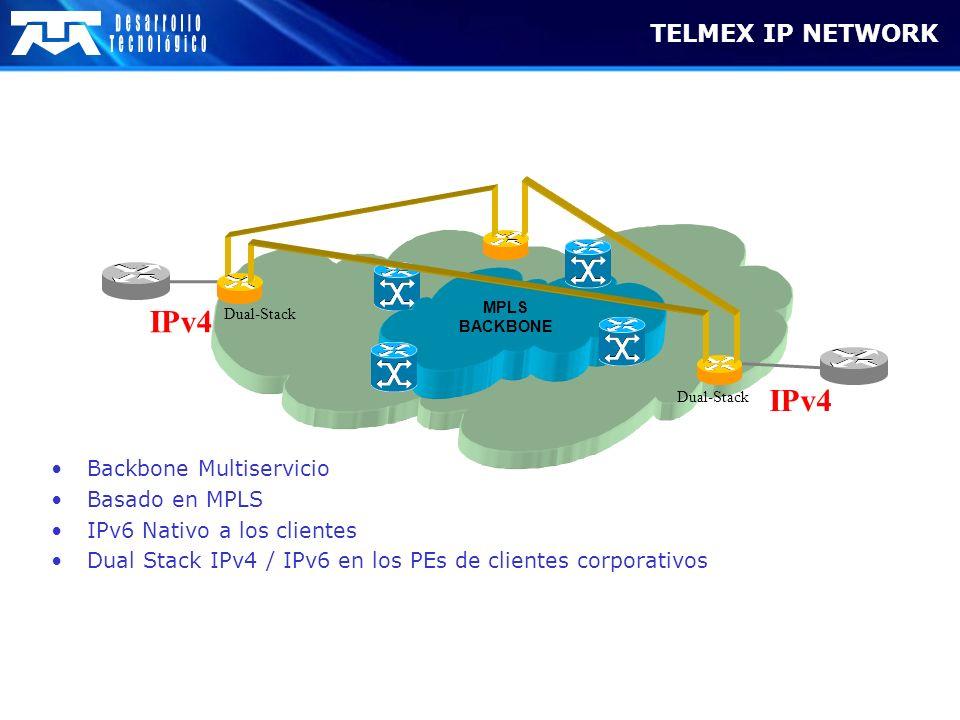 IPv4 IPv4 TELMEX IP NETWORK Backbone Multiservicio Basado en MPLS