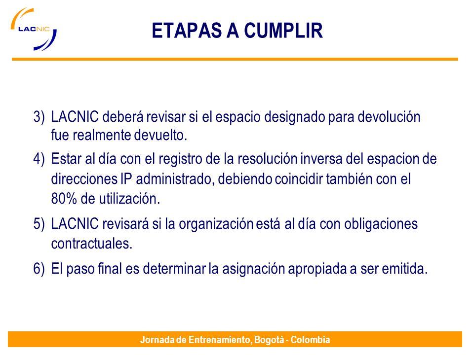 ETAPAS A CUMPLIR LACNIC deberá revisar si el espacio designado para devolución fue realmente devuelto.