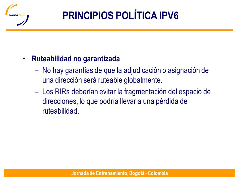 PRINCIPIOS POLÍTICA IPV6