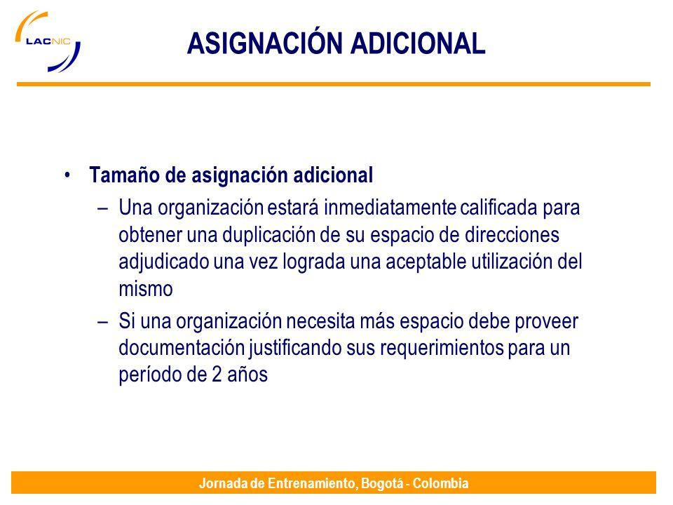 ASIGNACIÓN ADICIONAL Tamaño de asignación adicional