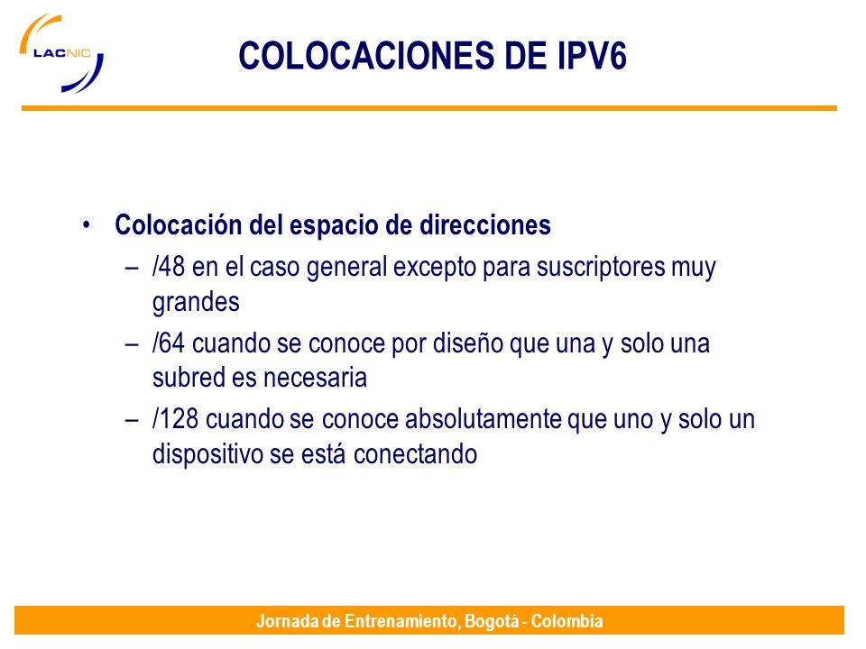 COLOCACIONES DE IPV6 Colocación del espacio de direcciones