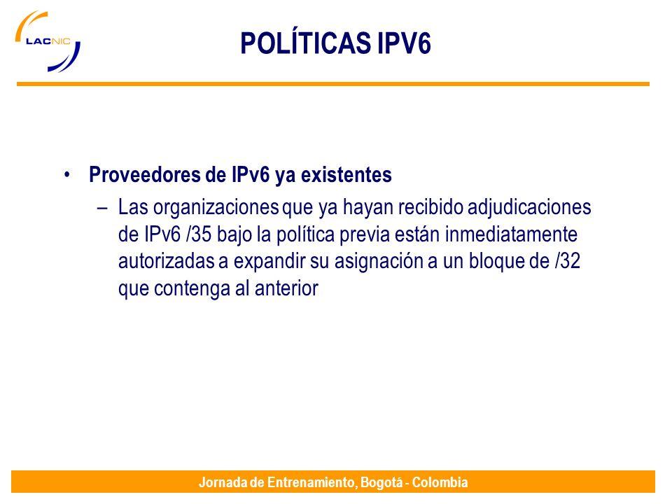 POLÍTICAS IPV6 Proveedores de IPv6 ya existentes