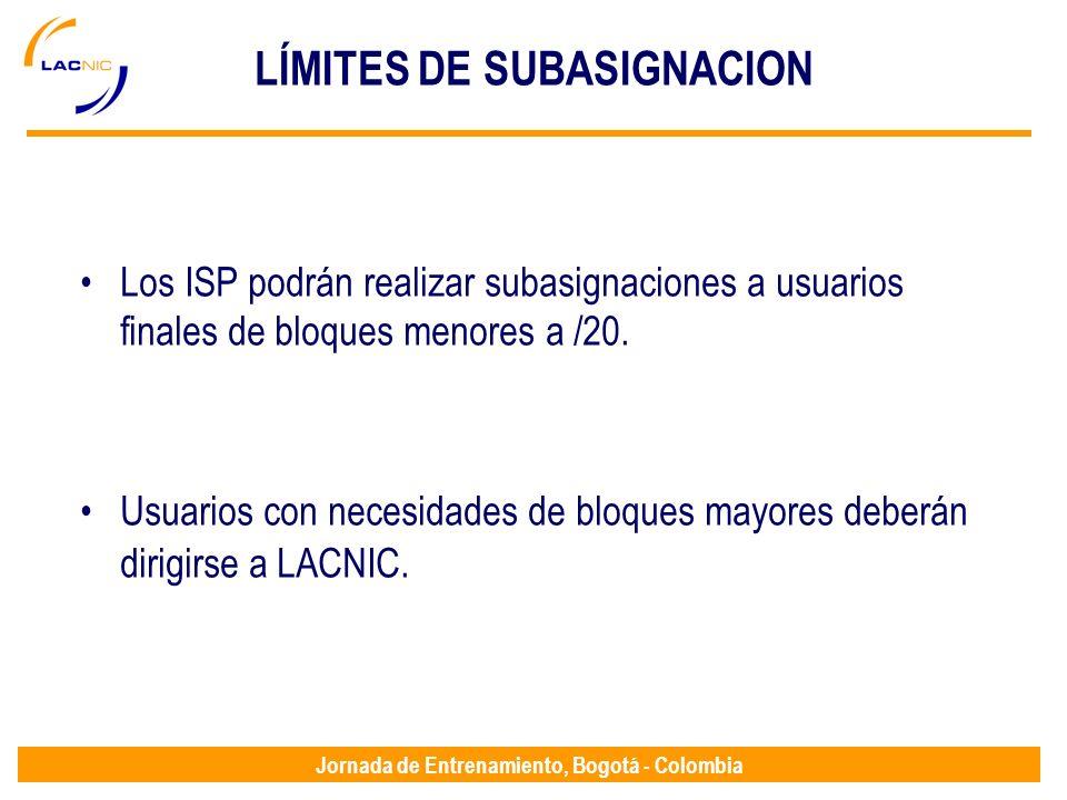 LÍMITES DE SUBASIGNACION