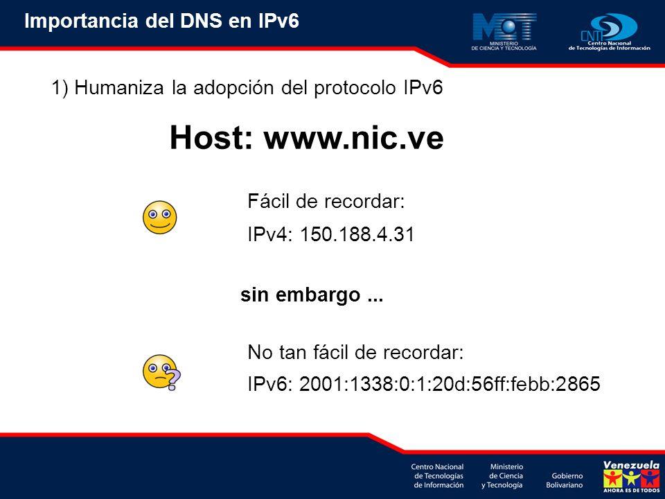 Host: www.nic.ve Importancia del DNS en IPv6