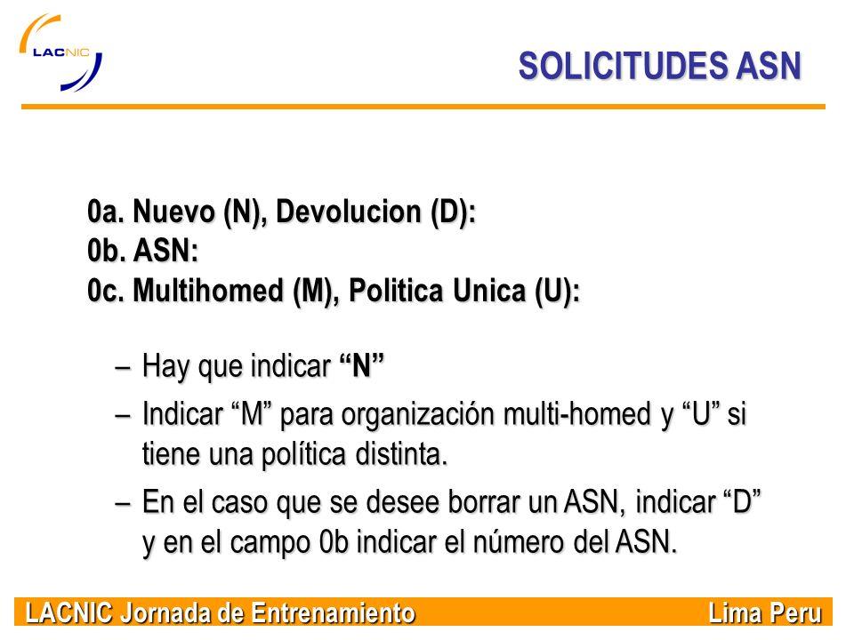 SOLICITUDES ASN 0a. Nuevo (N), Devolucion (D): 0b. ASN: