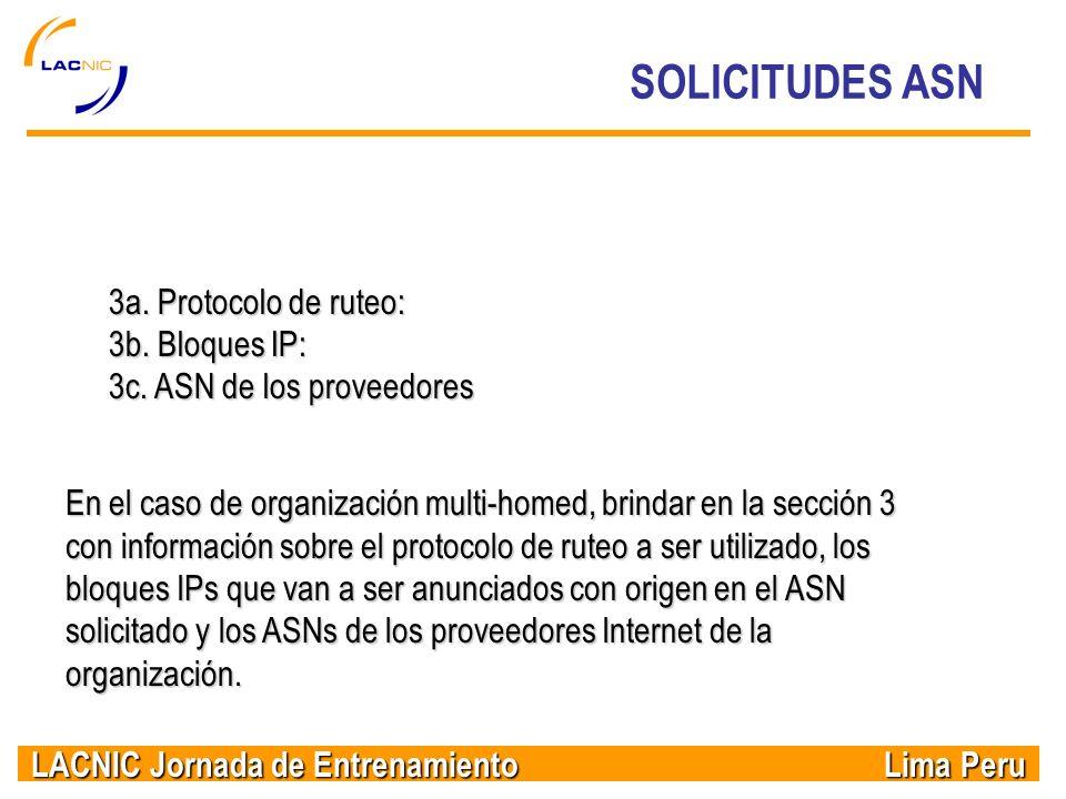 SOLICITUDES ASN 3a. Protocolo de ruteo: 3b. Bloques IP: