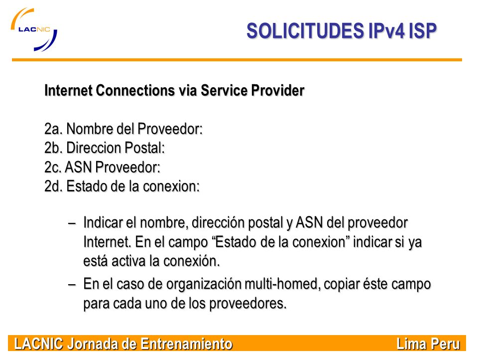SOLICITUDES IPv4 ISP Internet Connections via Service Provider