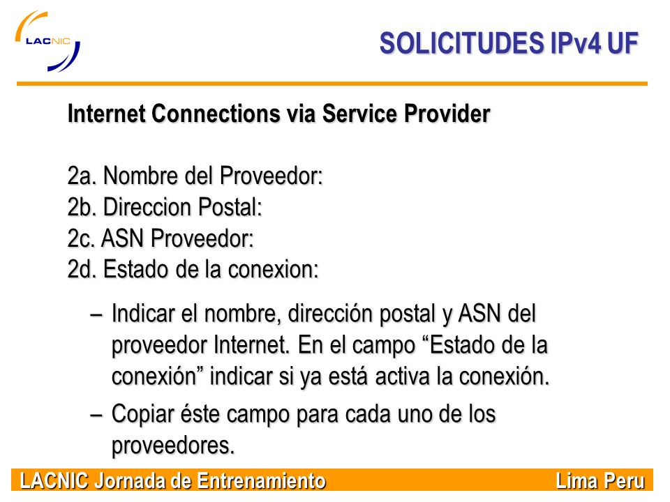 SOLICITUDES IPv4 UF Internet Connections via Service Provider