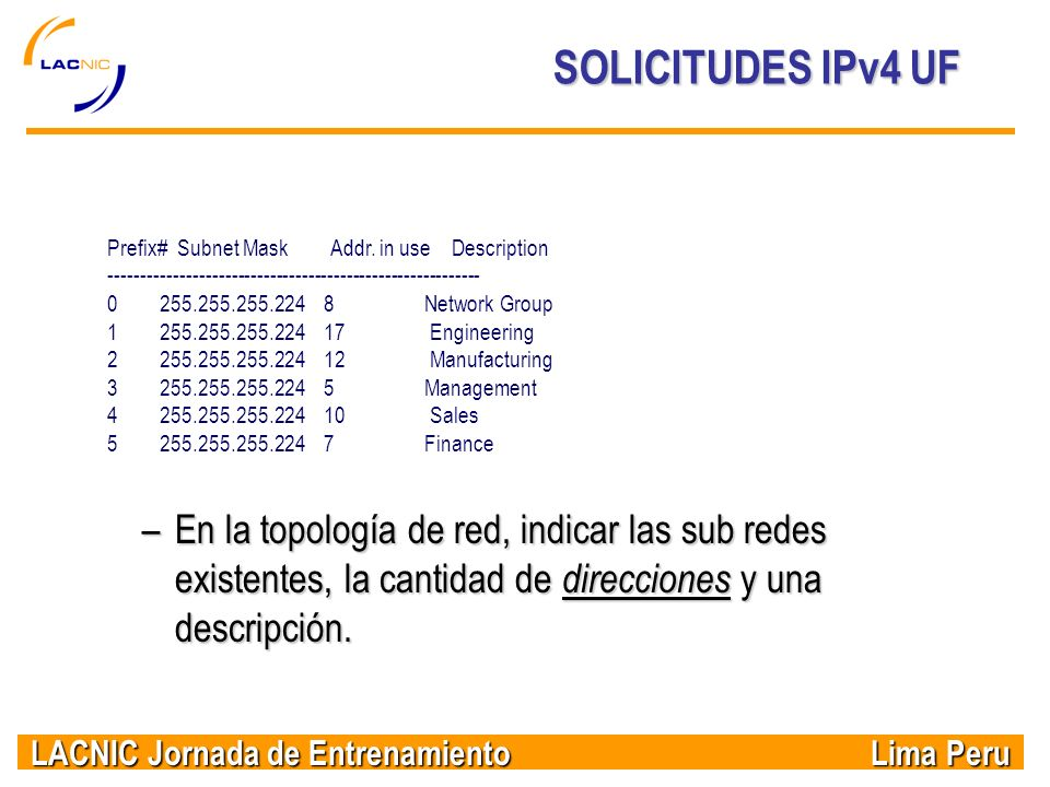 SOLICITUDES IPv4 UF Prefix# Subnet Mask Addr. in use Description. ----------------------------------------------------------