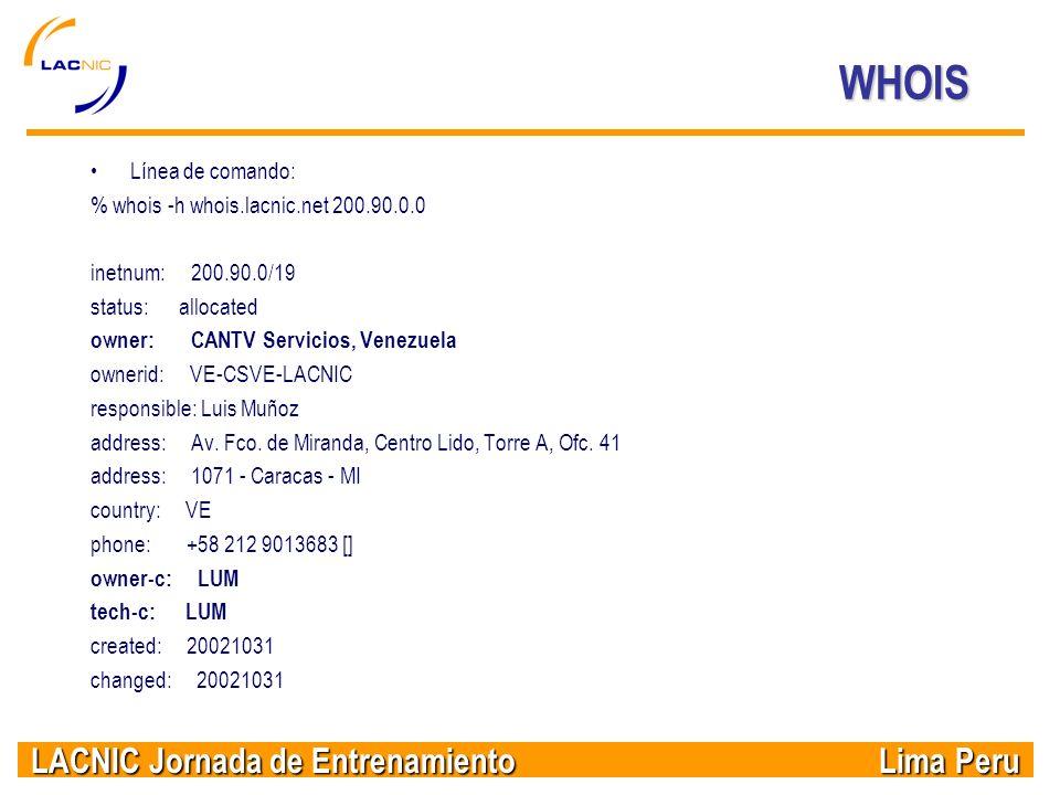 WHOIS Línea de comando: % whois -h whois.lacnic.net 200.90.0.0