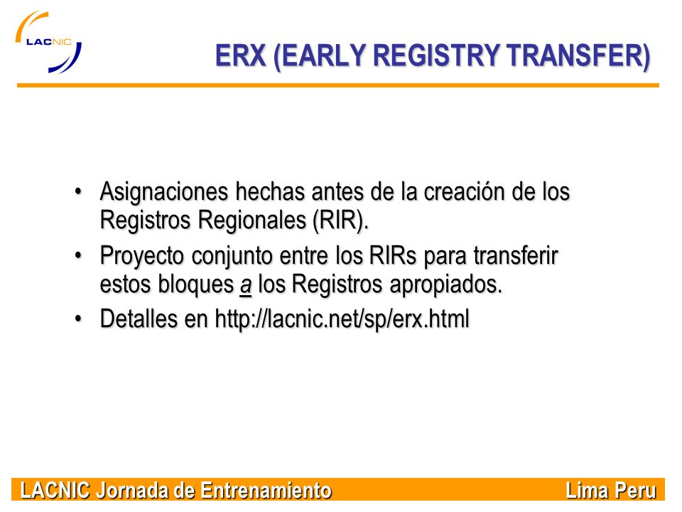 ERX (EARLY REGISTRY TRANSFER)