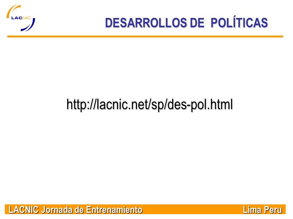 DESARROLLOS DE POLÍTICAS