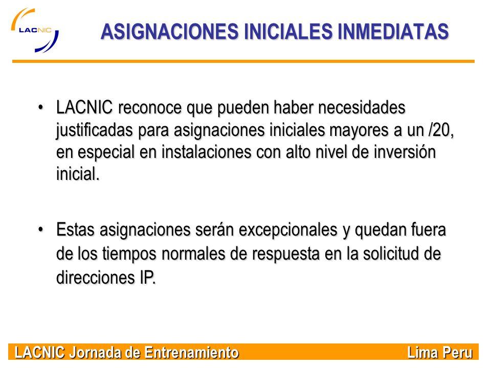 ASIGNACIONES INICIALES INMEDIATAS