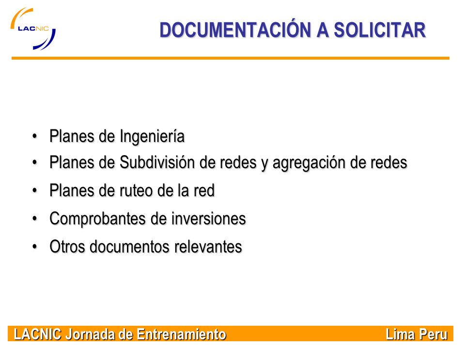 DOCUMENTACIÓN A SOLICITAR