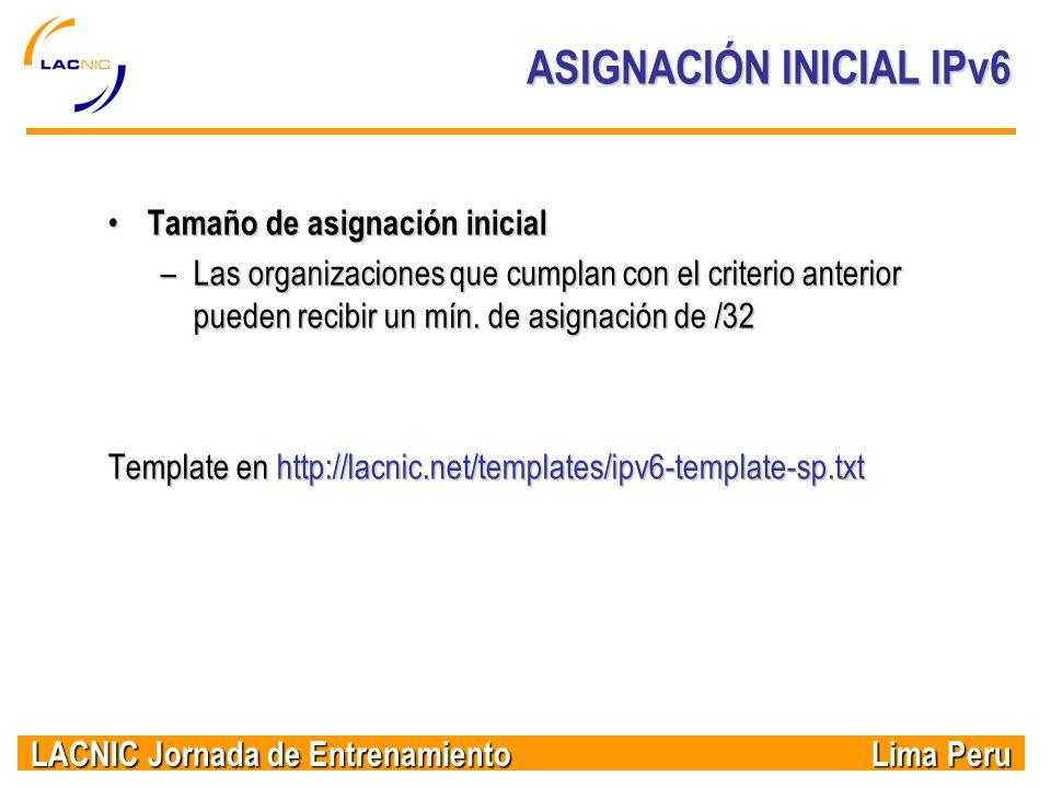 ASIGNACIÓN INICIAL IPv6