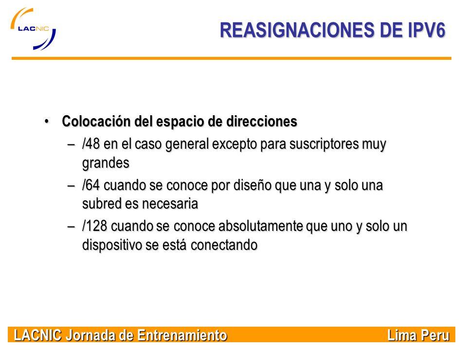 REASIGNACIONES DE IPV6 Colocación del espacio de direcciones