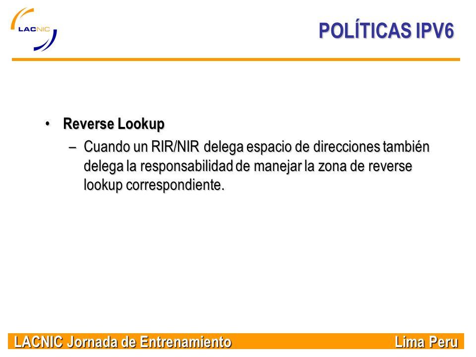 POLÍTICAS IPV6 Reverse Lookup
