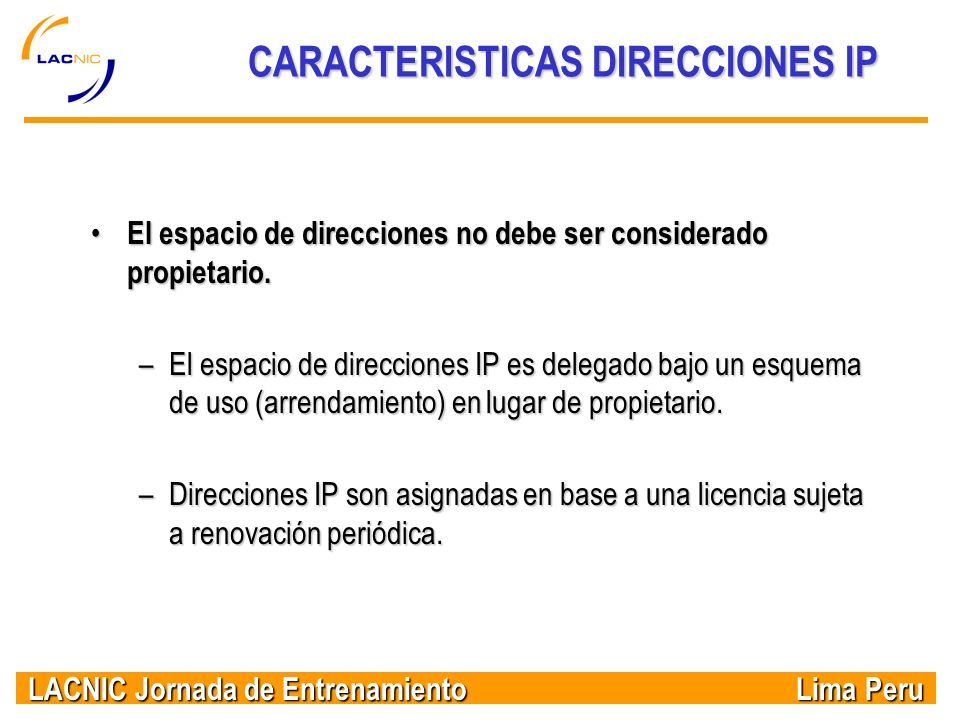 CARACTERISTICAS DIRECCIONES IP