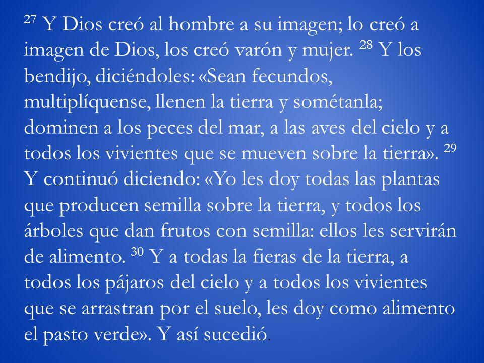 27 Y Dios creó al hombre a su imagen; lo creó a imagen de Dios, los creó varón y mujer.