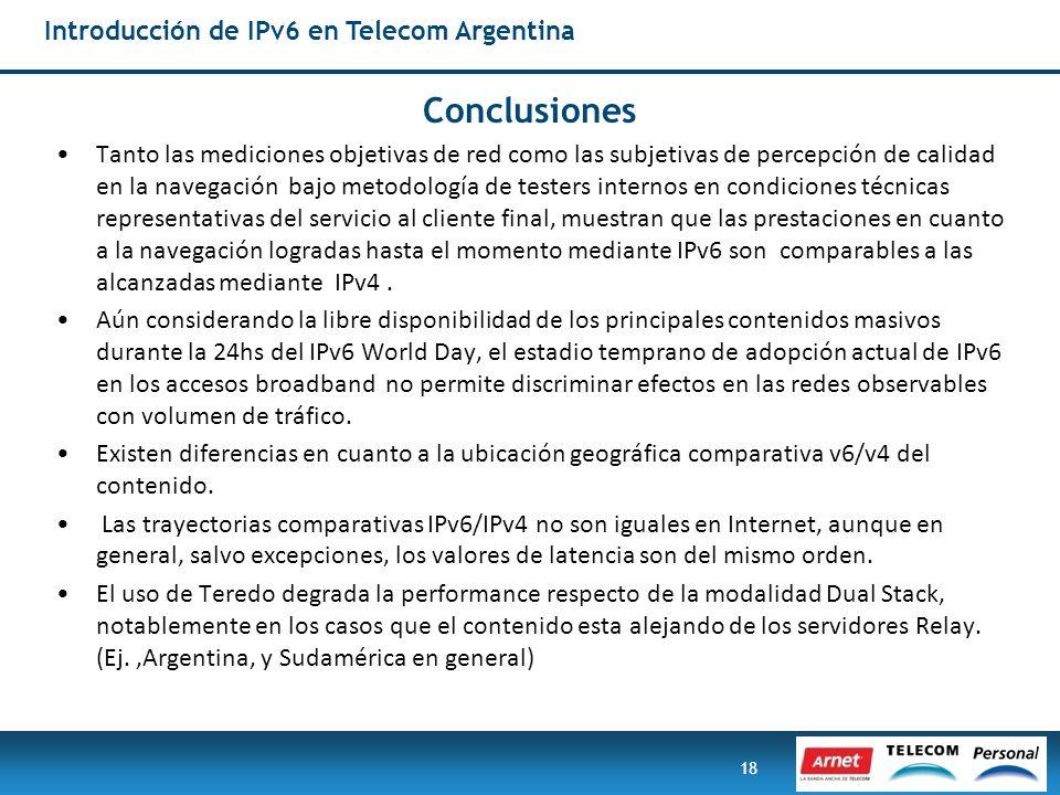 Conclusiones Introducción de IPv6 en Telecom Argentina