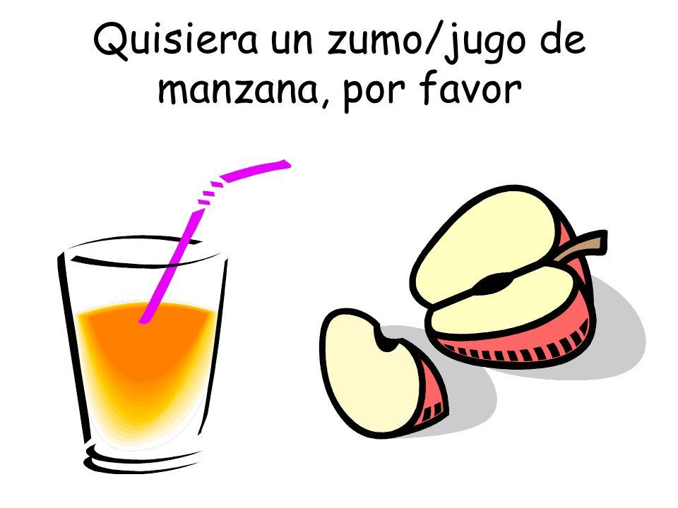 Quisiera un zumo/jugo de manzana, por favor