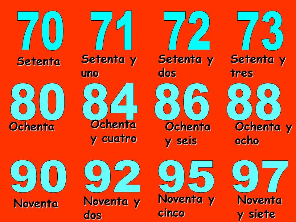70 71 72 73 80 84 86 88 90 92 95 97 Setenta y uno Setenta y dos