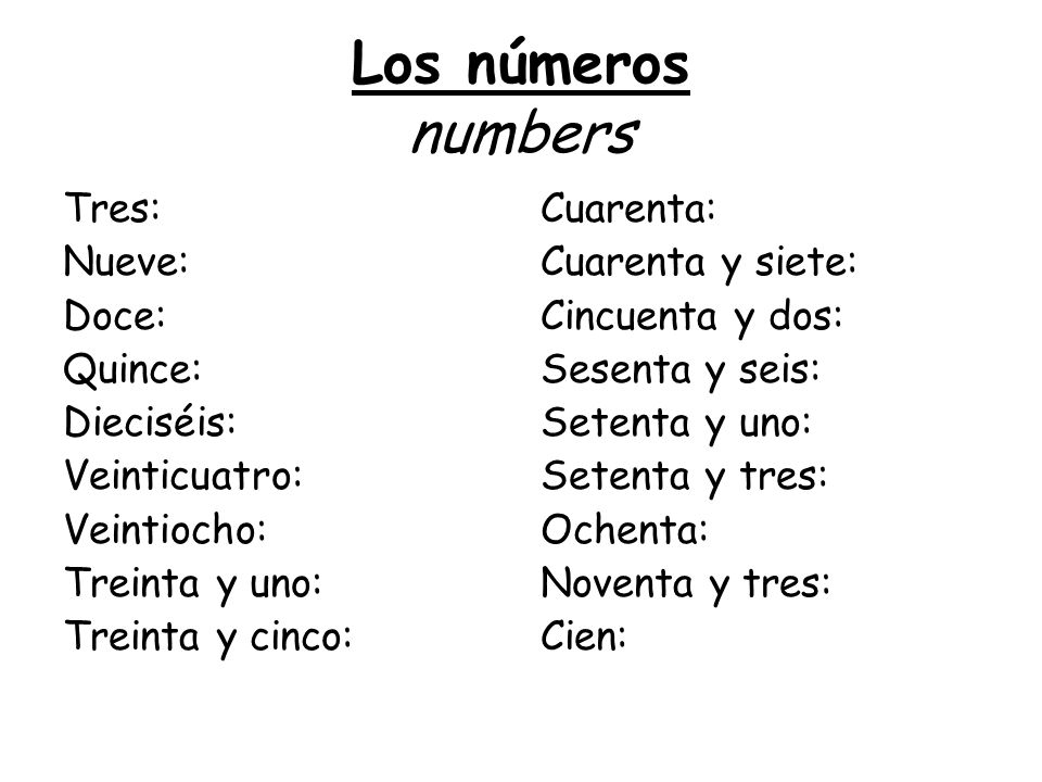 Los números numbers Tres: Nueve: Doce: Quince: Dieciséis: