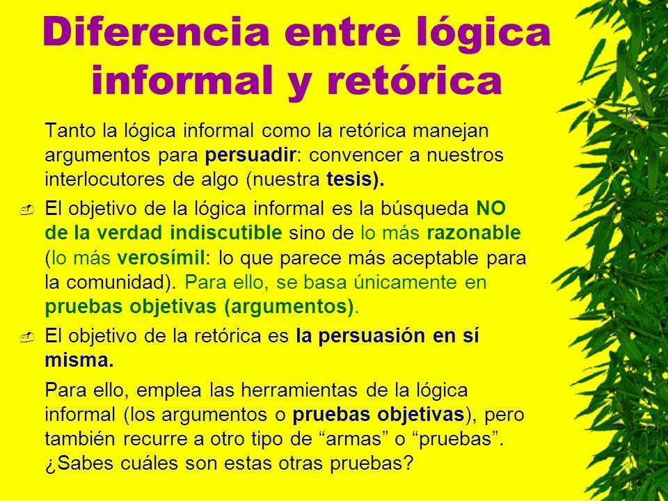 Diferencia entre lógica informal y retórica