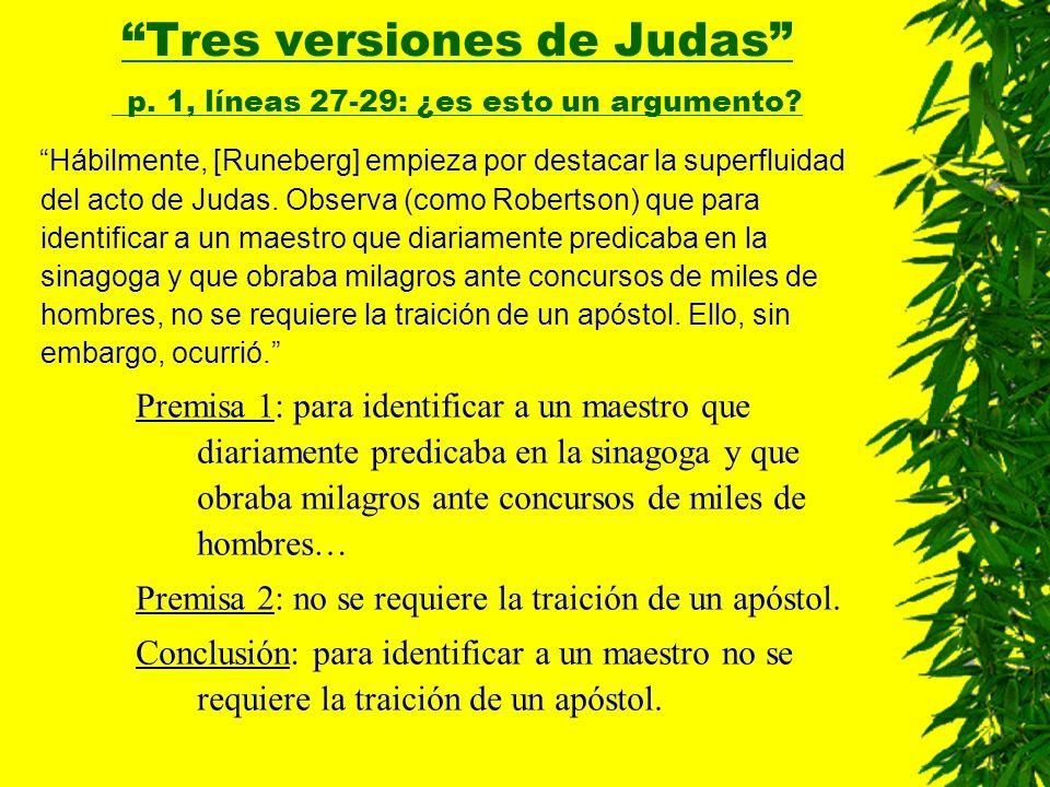 Tres versiones de Judas p. 1, líneas 27-29: ¿es esto un argumento